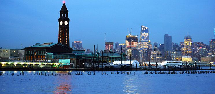 Lackawanna Hoboken Terminal at night